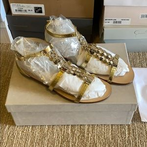 Jimmy Choo Gold Leather Sandals